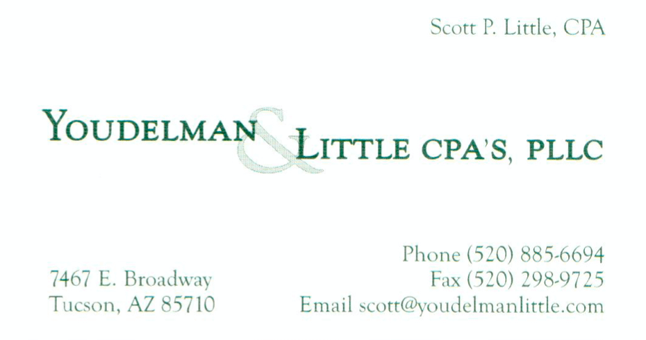 Contact Scott Little @ scott@youdelmanlittle.com (520) 885-6694